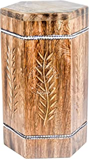 Hind Handicrafts Wooden Engraved Urns for Human Ashes Adult, Rosewood Cremation Urns for Ashes, Burial Urns for Columbarium, Wooden Box Funeral Urns for Human Ashes Large - 250 Cu/in