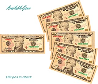 AvailableGame 10 Dollars Play Money for Games, Pranks, Monopoly Prop Paper Copy Money Double-Sided Printing 100 pcs Total $1,000 Educational Ten Dollar Bills Copy Money Stack for Kids