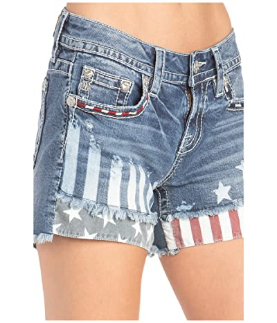 Miss Me American Mid-Rise Shorts (Light Blue) Women