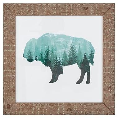 Amazon Brand – Rivet Modern Rustic Buffalo Bison Silhouette Print Wall Art Decor - 15  x 15  Frame, Wood Grain