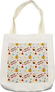Lunarable Colorful Tote Bag, Birthday Cake Design with Ornate Boxes Balloons and Flower Silhouettes Happy, Cloth Linen Reusable Bag for Shopping Groceries Books Beach Travel & More, Cream