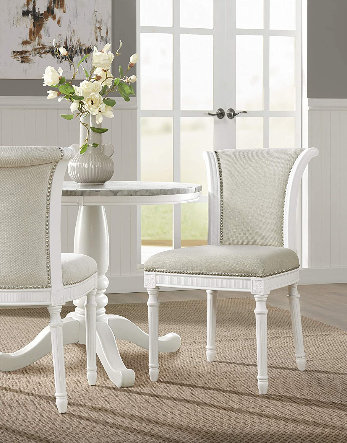 NewRidge Home Goods Chapman White with Upholstered Seat and Back, Set of 2 Dining Chair