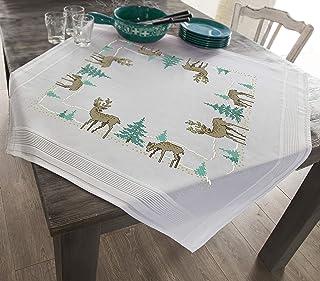 Tres lechuzas+Welcome Proumhang 14 CT Kits de bordado DIY Mantel de punto de cruz para bordar 2 hilos Aida Canvas Blanco 58x17cm