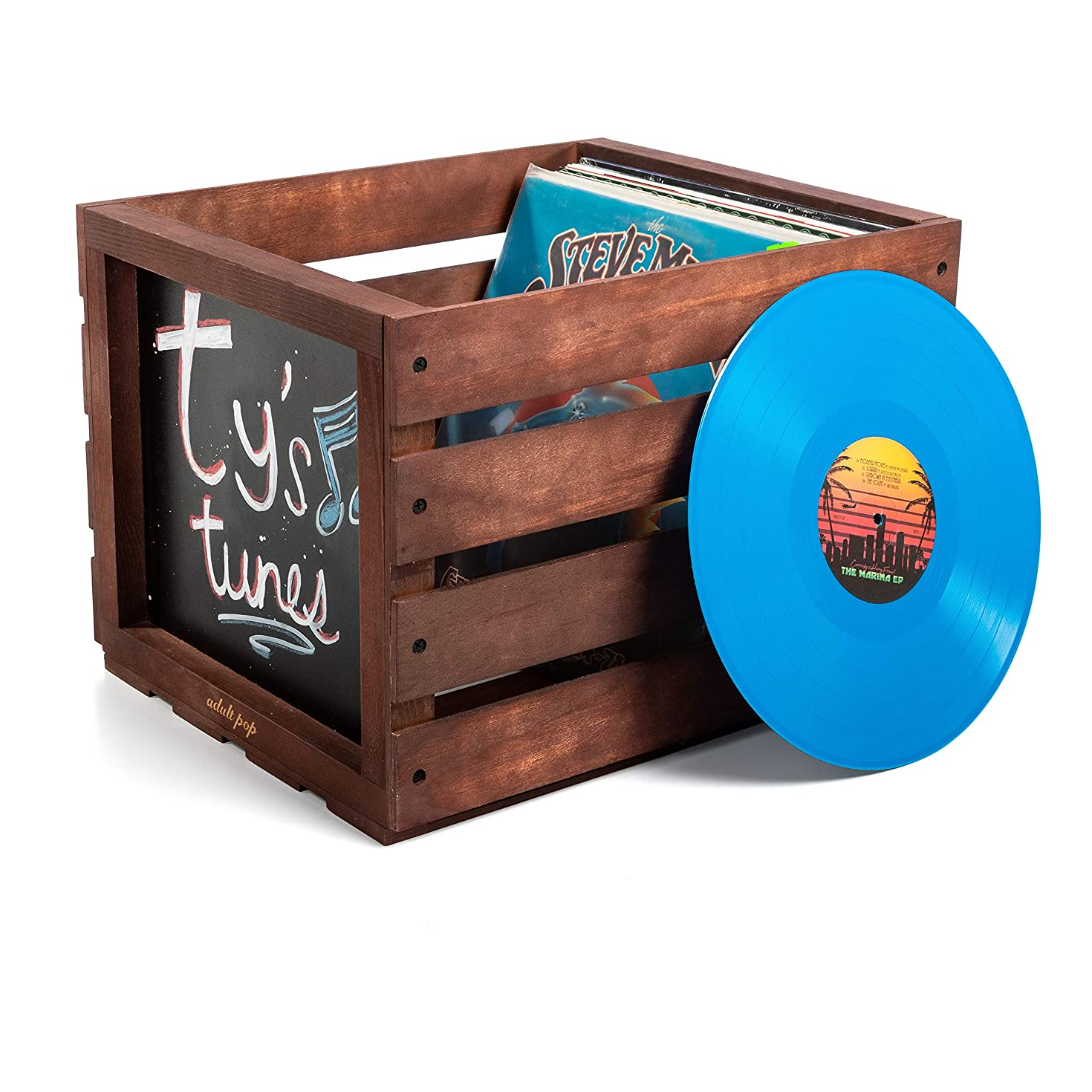 Chalkboard Vinyl Record Storage Wooden Crate - Chalk Pen & Dust Chalk Included - Wood Records Display Case - Perfect Album Organizer - by Adult Pop (Carrington)