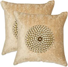 "NEHA HANDICRAFTS Silk & Velvet 2 Piece Decorative Handmade Mandala Design Embossed Golden Beads Work Sofa Cushion Covers - 16"" x 16"", Ivory"