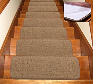Seloom Stair Treads Carpet Non-Slip with Skid Resistant Rubber Backing Specialized for Indoor Wood Steps, Removable Washable Step Floor Rugs for Stairs (Pure Brown, Set of 13)