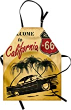 Ambesonne Retro Apron, Retro Welcome to California Advertising Seat of Hollywood in Pop Art Style Print, Unisex Kitchen Bib with Adjustable Neck for Cooking Gardening, Adult Size, Emerald Red