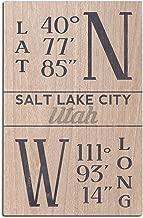 Lantern Press Salt Lake City, Utah - Latitude and Longitude (Blue) (12x18 Wood Wall Sign, Wall Decor Ready to Hang)