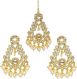 Bindhani Indian Bollywood Style Jewelry Wedding Bridal HeadPiece Kundan Earrings Maang Tikka For Women