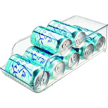InterDesign Fridge/Freeze Binz bac de stockage pour frigo, box de rangement en plastique, boite rangement pour 9 canettes de boissons, transparent