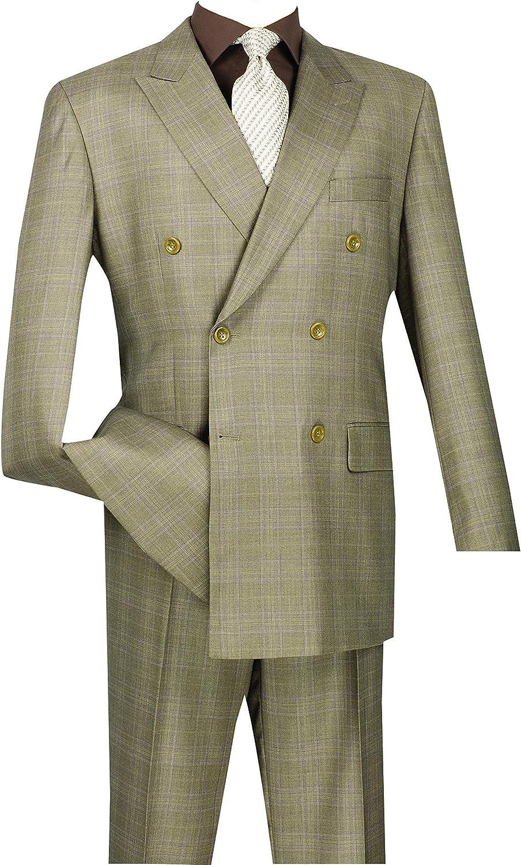 Save money VINCI Men's Wool Feel 6 Button Glen Breated Plaid Double Brand new DR Suit