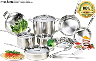 mockins 15 Piece Premium Grade Stainless Steel Cookware Set | The 15 Piece Pots and Pans Set and Kitchen Utensil Set with Aluminum Core and Tri Ply Body