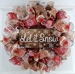 Let It Snow Wreath | Winter Christmas Mesh Front Door Wreath; White Red Brown Jute
