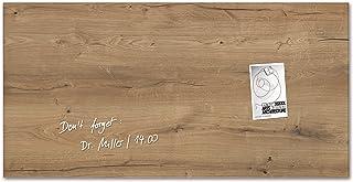 Sigel GL258 - Pizarra de cristal magnética, 91 x 46 cm, diseño Natural Wood