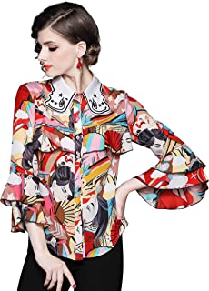 Women's Casual Floral Print Shirts Collared Neck Button up Blouse Top