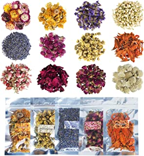 Natural Dried Flowers and Herbs, 12 Bags Floral Kit for Candle Making, Resin Supplies, Bath Bombs, Contain Rosebud, Chrysa...