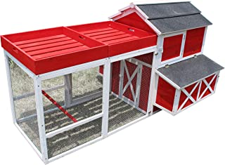 Zoovilla Red Barn Large Chicken Coop Metal Nest Box with Rooftop Planter