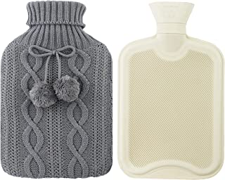 Athoinsu 2 Liter Hot Water Bottle Premium Rubber Pure with Colored Knitted Cover Heat Preservation, Gray
