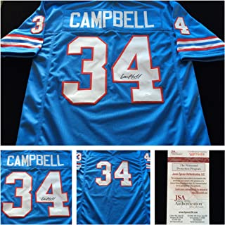 Earl Campbell Houston Oilers Signed Autograph Blue Jersey. JSA COA