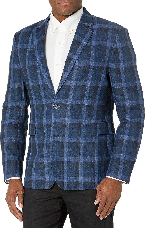 Cubavera Men's Delave Linen Y/D Plaid Jacket