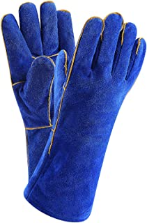 DEKO Welding Gloves 14 inch Leather Forge Heat Resistant Welding Glove for Mig, Tig Welder, BBQ, Furnace, Camping, Stove, Fireplace and More (Blue)
