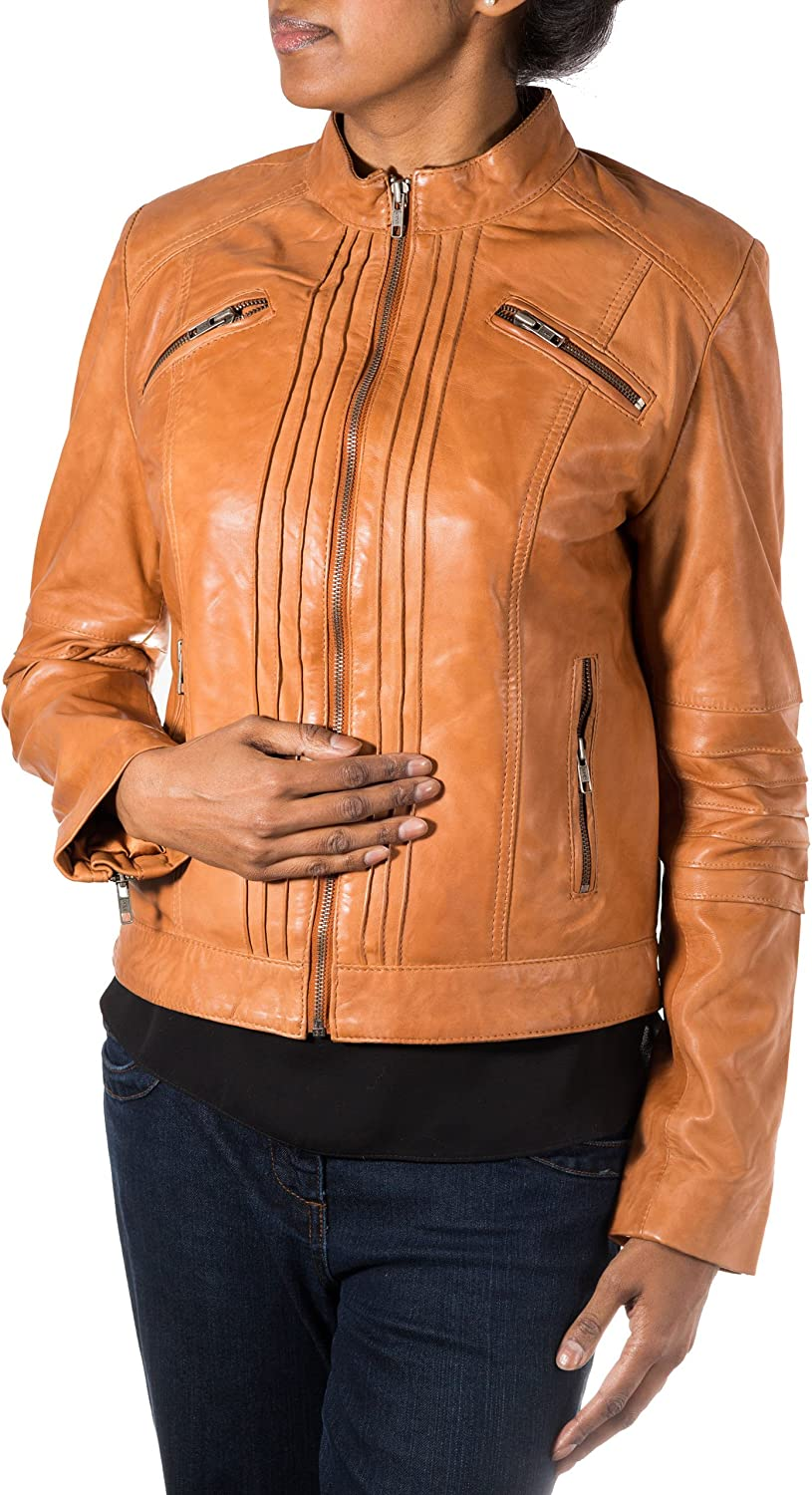 Womens Brown Tan Soft Leather Small Collar greenical Ribbed Design Biker Jacket