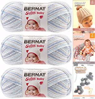 Bernat Softee Baby Yarn 3 Pack Bundle Includes 3 Patterns DK Light Worsted ( Blue Flannel ) 31129