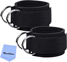 Techion 1 Pair of Fitness Ankle Straps for Cable Machine - Double D-Ring, Adjustable Comfort fit Neoprene - for Men and Women - Black