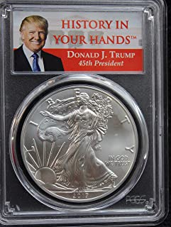 2017 America Silver Eagle First Strike Donald Trump Label Limited Edition $1 MS70 - The Perfect Coin - PCGS