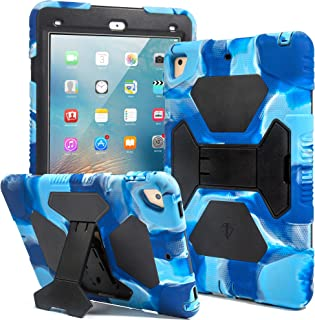 Kids Case for iPad 9.7 2018/2017, iPad Air 2, iPad Pro 9.7 Case Full Body Protective Silicone Cover Shockproof Scratchproof & Adjustable Kickstand for Apple iPad 9.7 5th / 6th Generation (Navy/Blue)