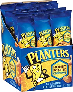 Planters Cashews Super Tube Nuts, Honey Roasted, 15-Count, 2 Ounce