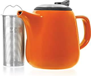 Tealyra - Daze Ceramic Teapot Orange - 27-ounce (2-3 cups) - Small Stylish Ceramic Teapot with Stainless Steel Lid and Extra-Fine Infuser To Brew Loose Leaf Tea