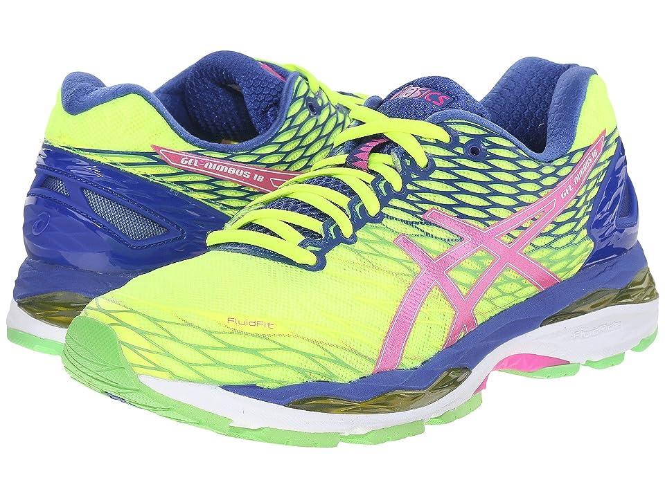 ASICS Gel-Nimbus(r) 18 (Flash Yellow/Pink Glow/Asics Blue) Women