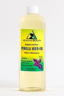 Perilla Seed Oil Organic Carrier Cold Pressed by H&B OILS CENTER Premium Fresh 100% Pure 16 oz