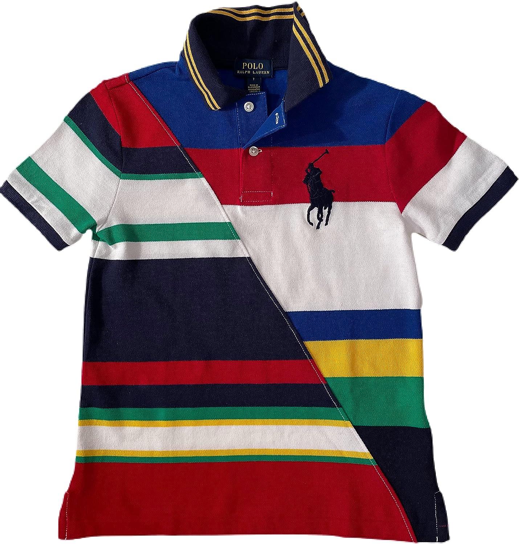 Ralph by Ralph Lauren Men's Polo Boy's Big Pony Multi Pieced Patchwork MESH Polo Shirt White Multi