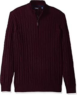 IZOD Men's Premium Essentials Solid Quarter Zip 7 Gauge...