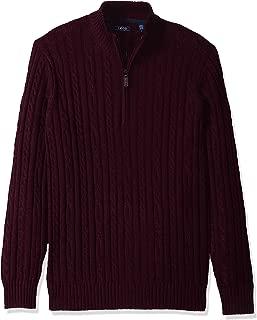 Men's Premium Essentials Solid Quarter Zip 7 Gauge Cable Knit Sweater