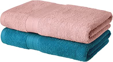 Amazon Brand - Solimo 100% Cotton 2 Piece Bath Towel Set, 500 GSM (Turquoise Blue and Baby Pink)