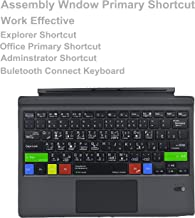 Arabic Language Type Cover Assembly Window Notepad Paint Explorer Shortcuts Ultra-Slim Wireless Bluetooth Keyboard with Trackpad for Microsoft Surface Pro 3 4 5 6