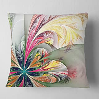 Designart Multicolor Fractal Tracery' Floral Throw Cushion Pillow Cover for Living Room, sofa 18 in. x 18 in