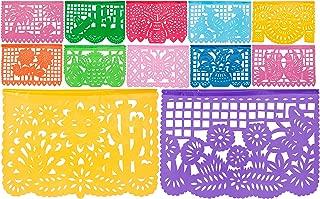 Plastic Medium Mexican Papel Picado Banner I Salio El Sol I 12 Panels Multi-Color Plastic Papel Picado Banner