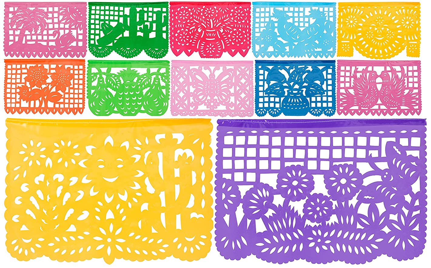 Plastic Medium Mexican Papel Picado Banner - Salio El Sol - 12 Tissue Panels Multi-Colored - Designs and Colors as Pictured
