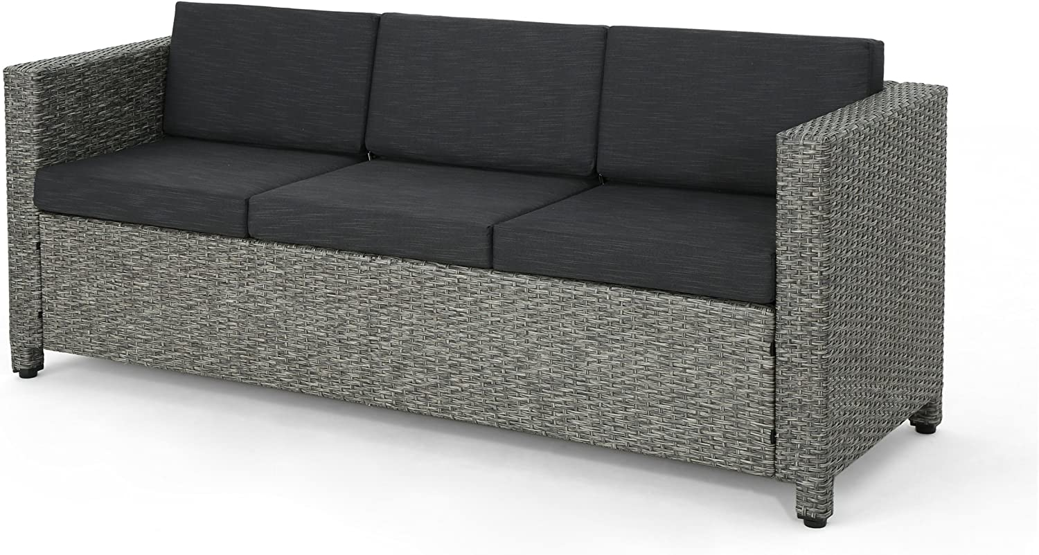 Christopher Knight Home sale Puerta Outdoor Wicker Sofa Excellent Mix 3-Seater