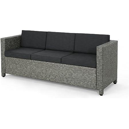 Christopher Knight Home Puerta Outdoor Wicker 3 Seater Sofa Mix Black Dark Grey Cushion Garden Outdoor