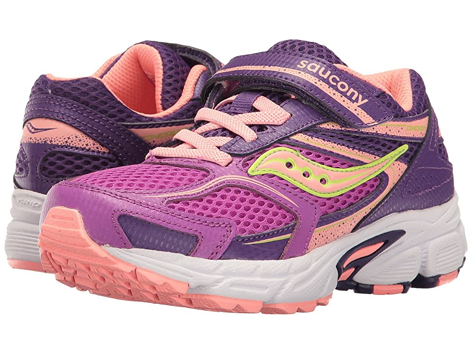 Saucony Kids Cohesion 9 A/C (Little Kid) (Purple/Coral) Girls Shoes