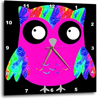 3dRose DPP_78329_2 Cute Psychedelic and Neon Pink Sixties Owls-Wall Clock, 13 by 13-Inch