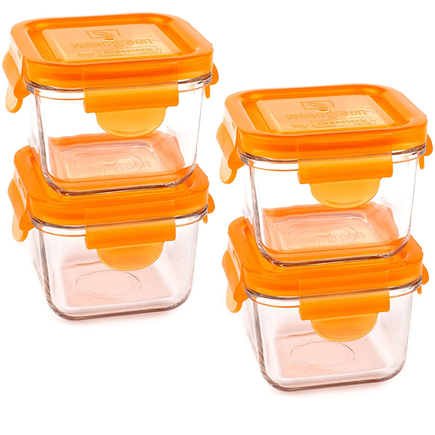 Wean Green Carrot Snack Cubes Reusable Food Storage Container Set