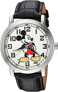 Men's Disney Limited Edition Stainless Steel Analog-Quartz Watch with Leather Calfskin Strap, Black, 22 (Model: 24544)