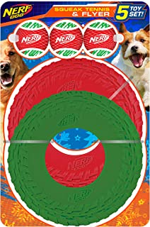 Nerf Dog 5-Piece Dog Toy Gift Set, Includes 2.5in Squeak Holiday Stripe Tennis Ball 3-Pack and 10in TPR Tire Flyer 2-Pack,...
