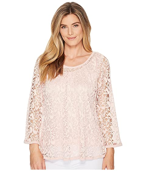 NALLY & MILLIE Lace Top Set W/ Tank Layer, Peach Pink